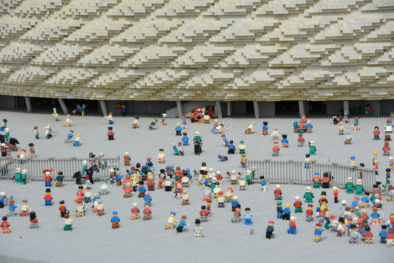 安联球场是一个橄榄球场在慕尼黑,从塑料lego块 库存照片
