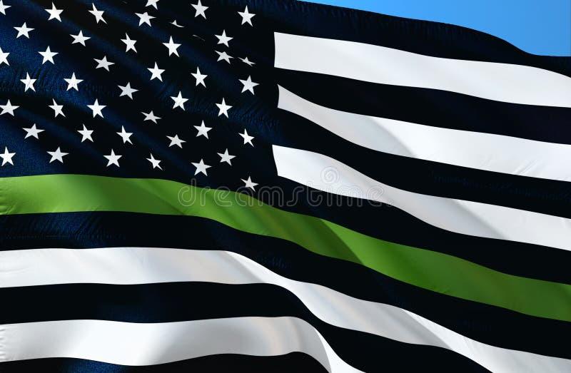 安莱飞行微风绿线美国旗子 支持边境巡逻警察旗子 紧急巡逻反应器 勇气旗子  显示您 向量例证