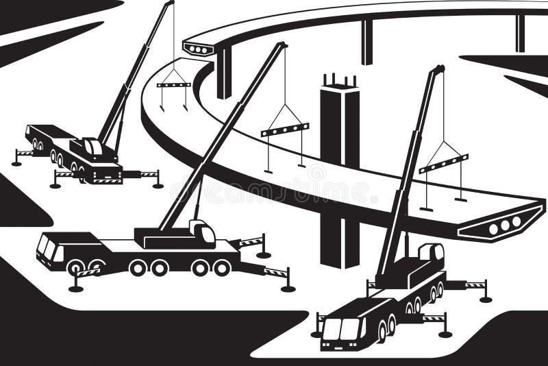 安装一部分的桥梁的移动式起重机 向量例证