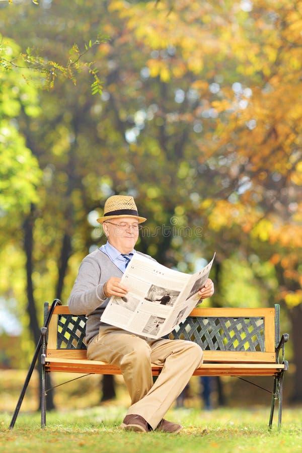 安装了读一张报纸的资深绅士在长凳在公园 免版税图库摄影