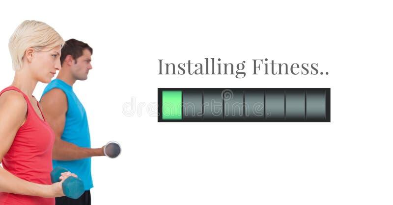 安装健身供给酒吧和健身夫妇举的重量动力 免版税库存照片