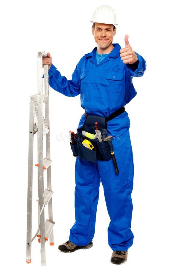 安装工藏品梯子和陈列赞许 免版税库存照片