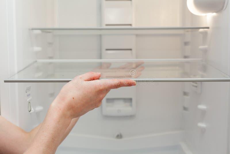 安装新,清洗在一个空的被洗涤的冰箱的架子 少妇清洁冰箱 免版税图库摄影