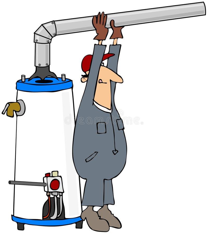安装水工作者的加热器 皇族释放例证
