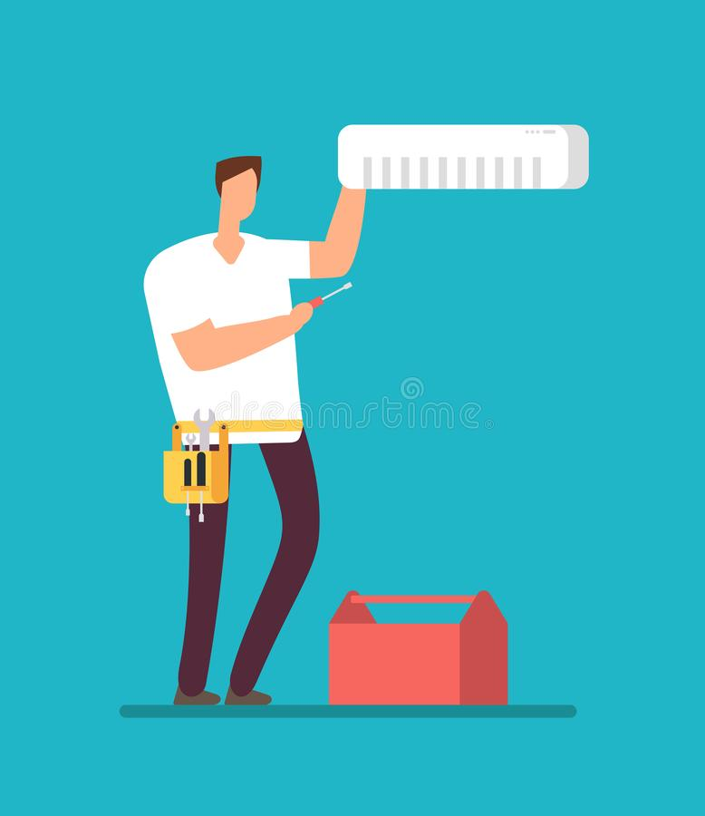 安装空调器的专业安装工 公寓致冷机和空中管制服务传染媒介概念修理  向量例证