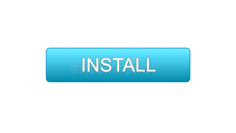 安装网接口按钮蓝色颜色,应用下载,站点设计 皇族释放例证