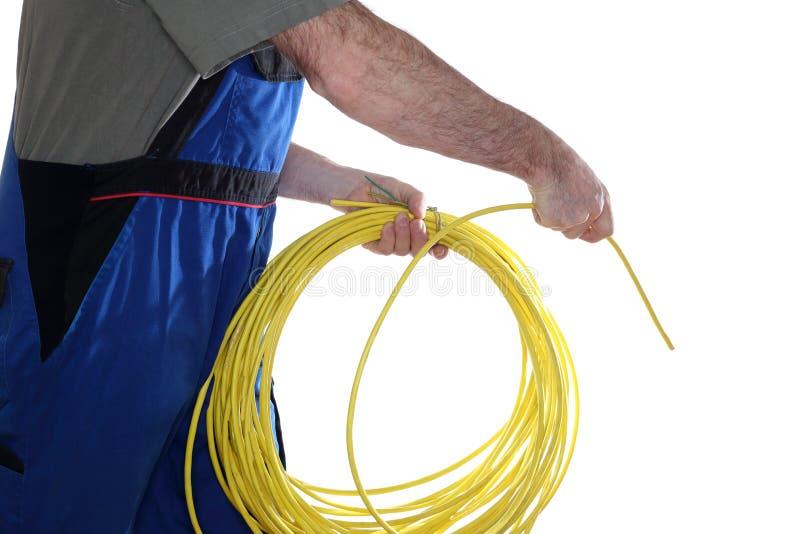 安装网络缆绳 库存照片
