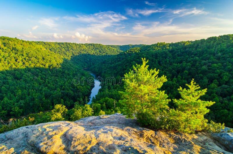 安赫尔瀑布俯视,大南叉全国河和度假区 免版税库存图片