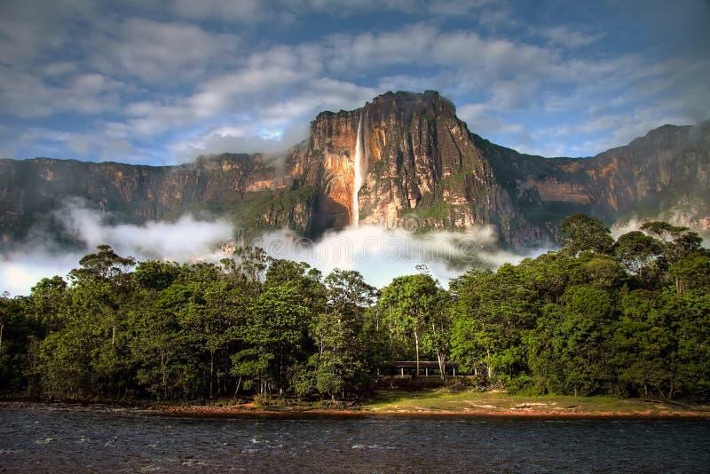 安赫尔瀑布在轻的早晨最高的瀑布在世界上 免版税库存照片