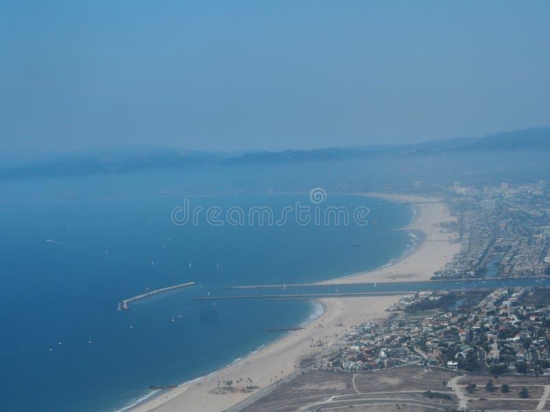 安赫莱斯los 运河威尼斯 从飞机的视图 库存照片