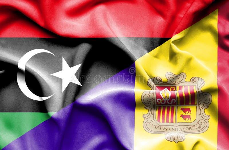 安道尔和利比亚的挥动的旗子 皇族释放例证