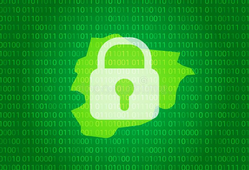安道尔映射 例证有锁和二进制编码背景 阻拦的互联网,病毒攻击,保密性保护 库存例证