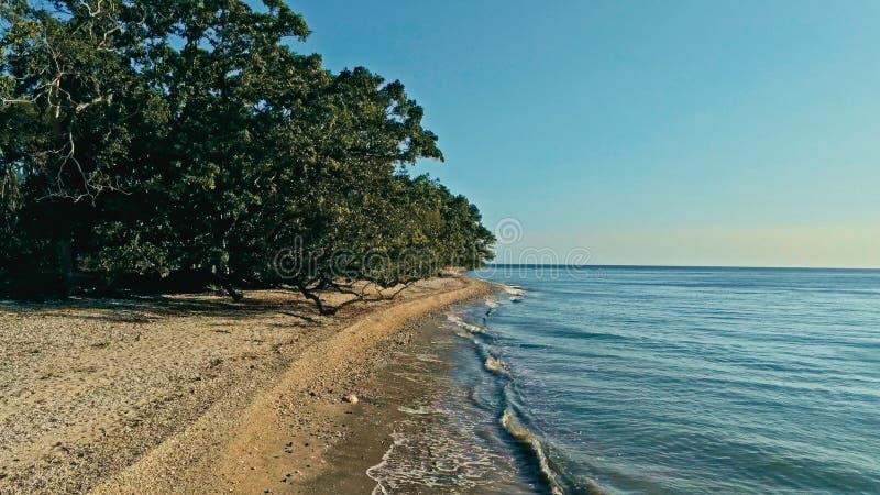 安静和惊人的美丽的暗藏的遥远的海洋海岸的放松的空中寄生虫图象在日落的与一个不尽的沙滩 库存图片