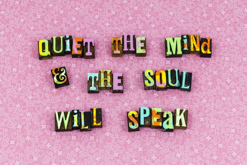 安静的头脑灵魂讲话听活版 免版税库存图片