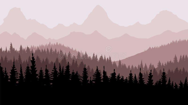 安静的背景 冷杉森林,山的天际的 布朗口气 日落 重新创建 皇族释放例证