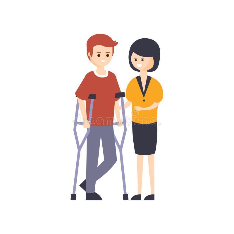完全与伤残例证的残疾人居住的充分的愉快的生活与微笑的人蹲下和他的 向量例证