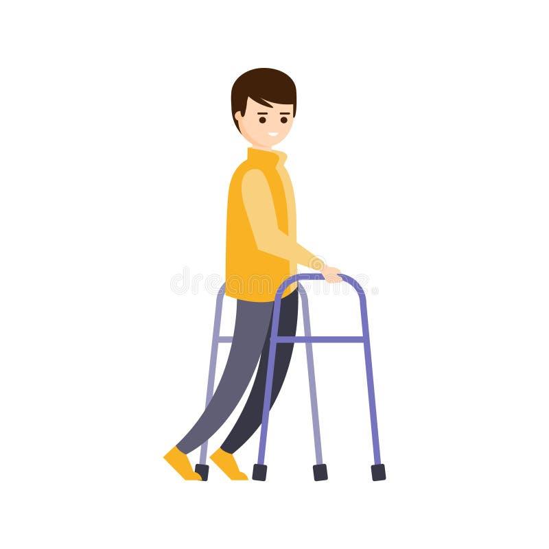 完全与伤残例证的残疾人居住的充分的愉快的生活与有大脑的微笑的人 向量例证