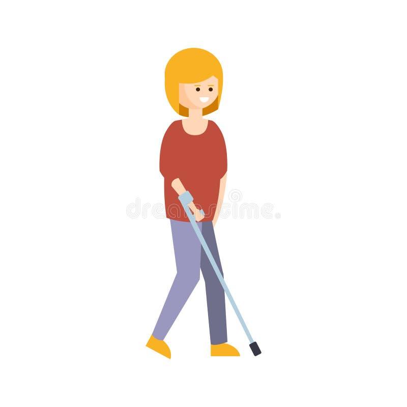 完全与伤残例证的残疾人居住的充分的愉快的生活与走与的微笑的妇女蹲下 库存例证