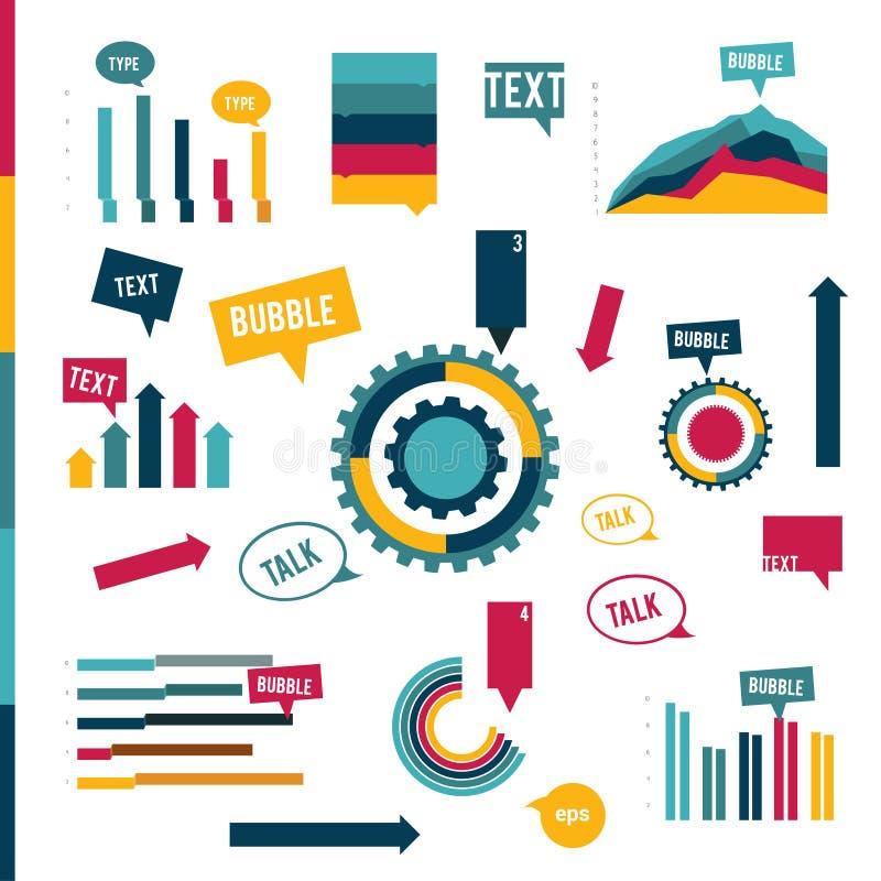 完全印刷品或网页的元素的Infographic平的收藏 库存例证