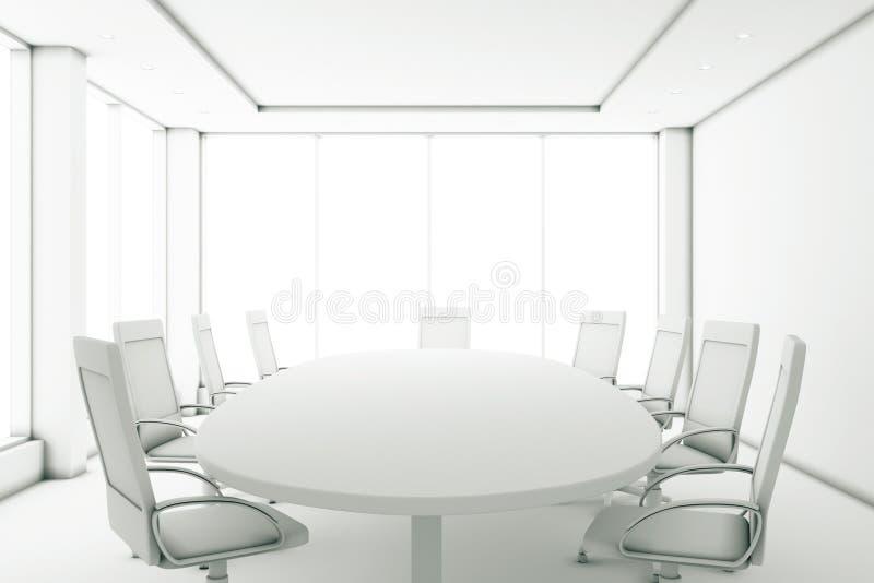 完全地有一圆桌和大windo的白色会议室 向量例证