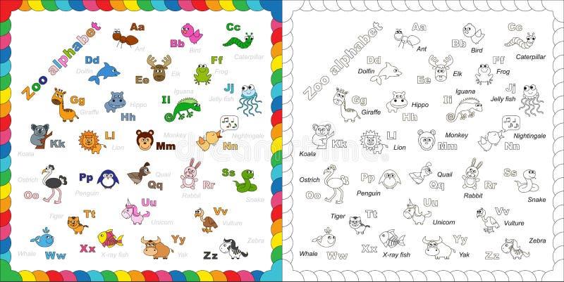 完全孩子英国动物动物园字母表与 库存例证