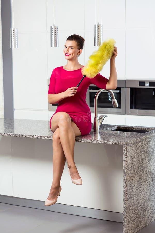 完全被清洗的厨房室内部 免版税库存照片