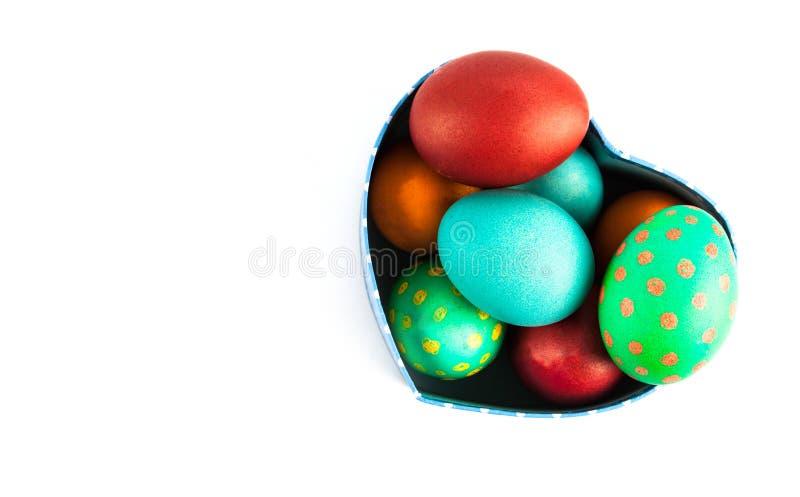 完善的五颜六色的手工制造复活节彩蛋 库存照片