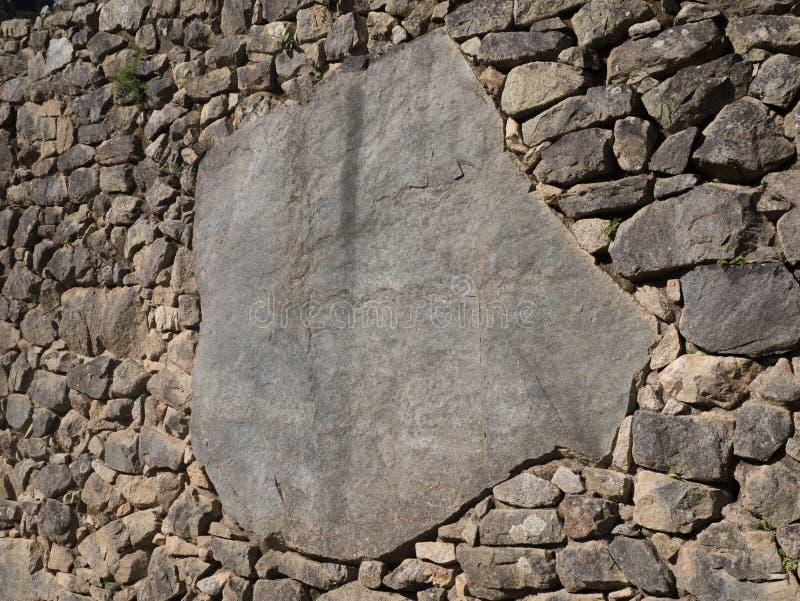 完善的印加人石制品细节被复在马丘比丘废墟 免版税库存图片