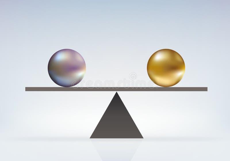 完善的平等的标志在平衡在等级的两相同重量之间的 向量例证