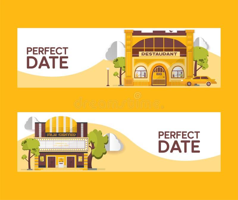 完善的日期套横幅传染媒介例证 餐馆和戏院大厦 在树中的影片中心 驾车 库存例证