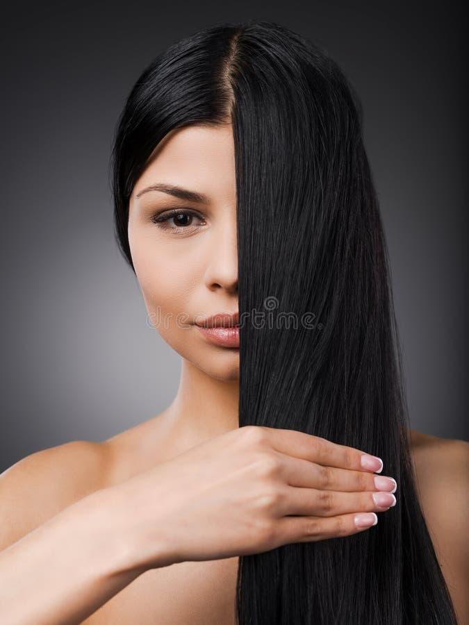 完善的柔滑的头发 库存照片