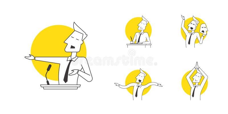 完善的线报告人象以讲说术专业技术的各种各样的姿势和显示 现代线性 库存例证