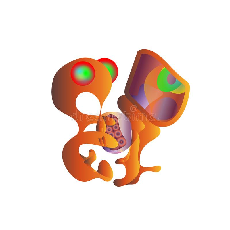 完成工作的年轻橙色外籍人少年programer也打比赛 打在计算机上的少年游戏玩家电子游戏 传染媒介动画片il 向量例证