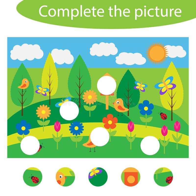 完成难题并且发现图片的缺掉部分,春天乐趣孩子的教育比赛,学龄前活页练习题 向量例证