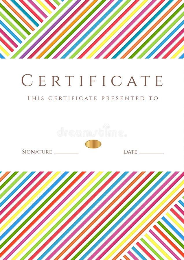 五颜六色的有条纹的证明/diploma模板 库存例证