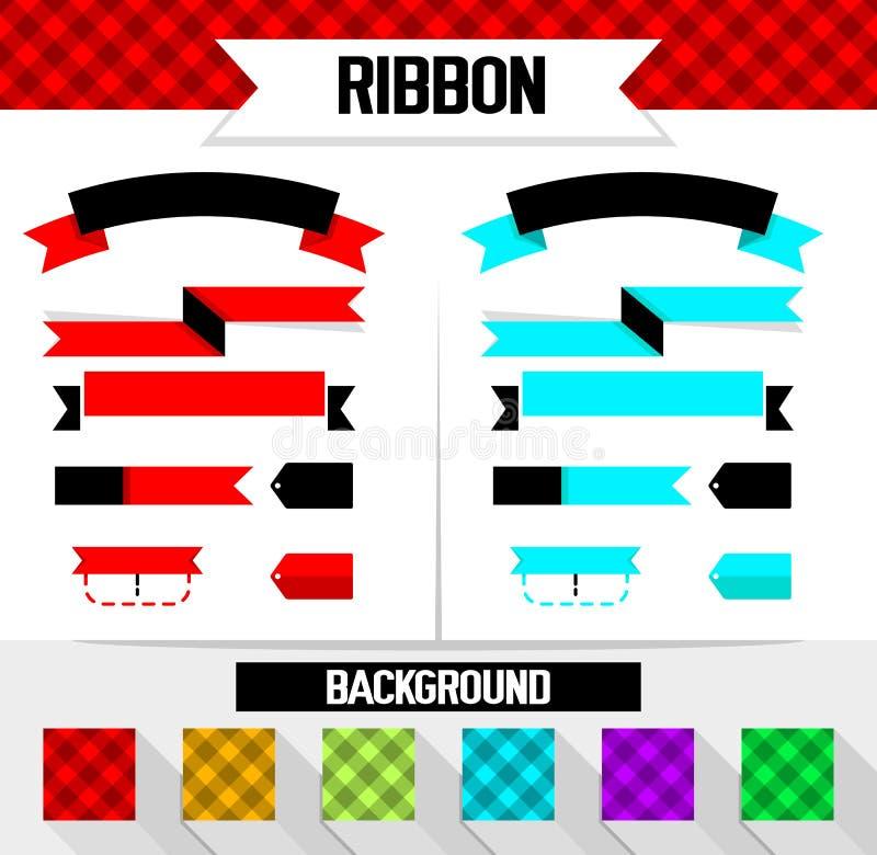 完整色彩的样式和丝带背景设计 向量例证