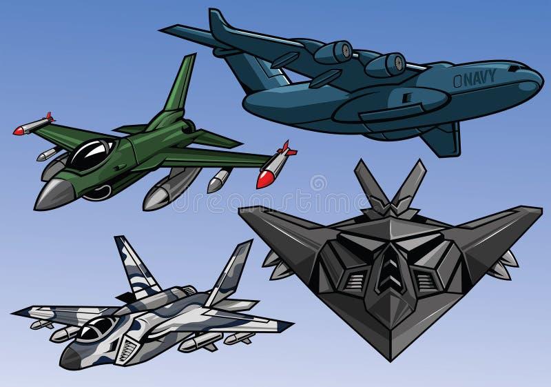 完整色彩的现代军用飞机的汇集 向量例证