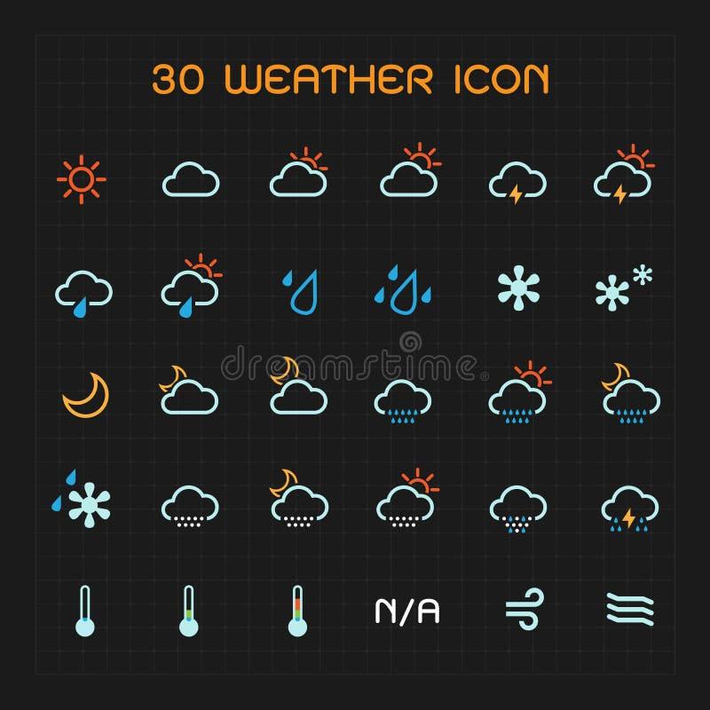 完整色彩的天气象集合 皇族释放例证