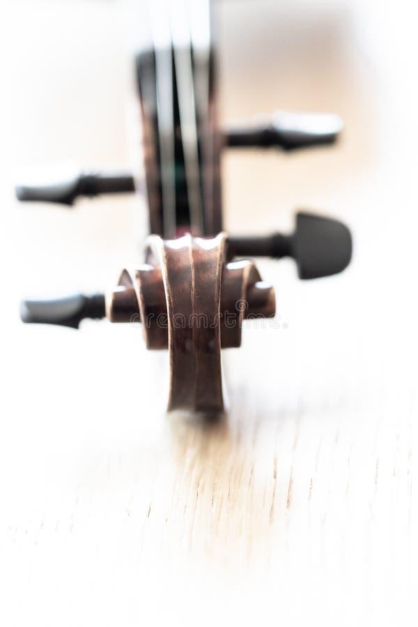 宏指令接近在小提琴前面纸卷 免版税库存照片