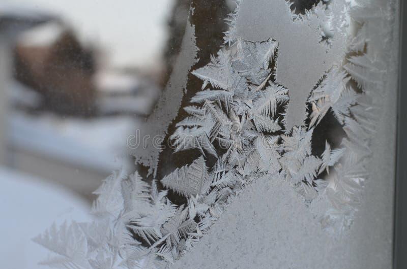 宏指令接近冰微粒构造雪结冰 免版税图库摄影