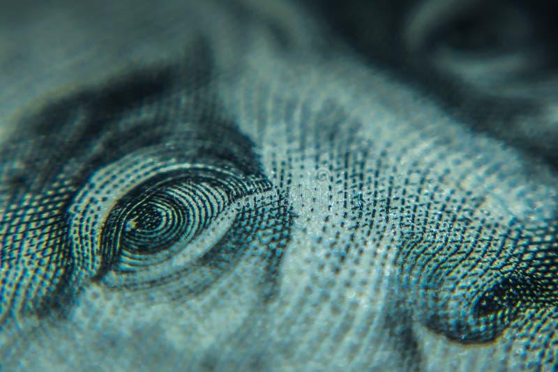 宏观一百元钞票 库存图片