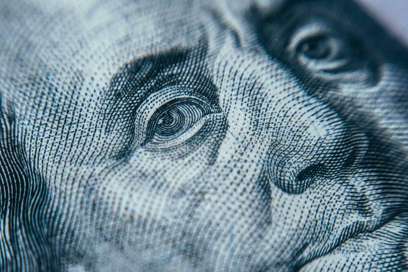 宏观一百元钞票 免版税库存照片
