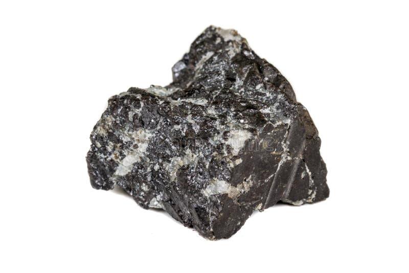 宏观在岩石的硅土矿物石头在白色背景 免版税图库摄影