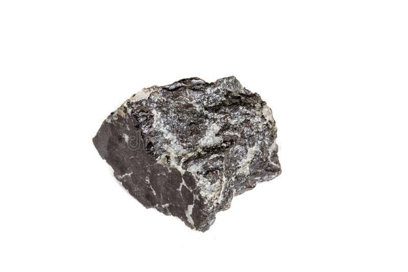 宏观在岩石的硅土矿物石头在白色背景 库存图片