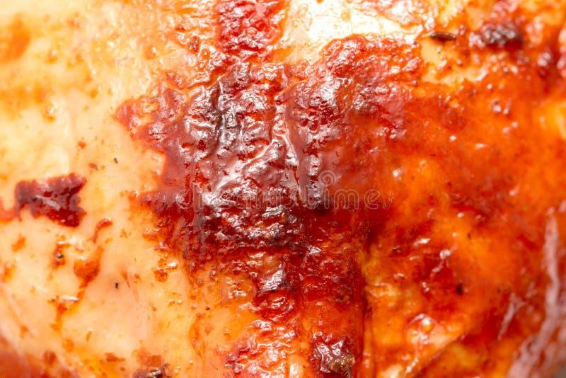 宏观射击的烤鸡食物背景关闭 库存图片
