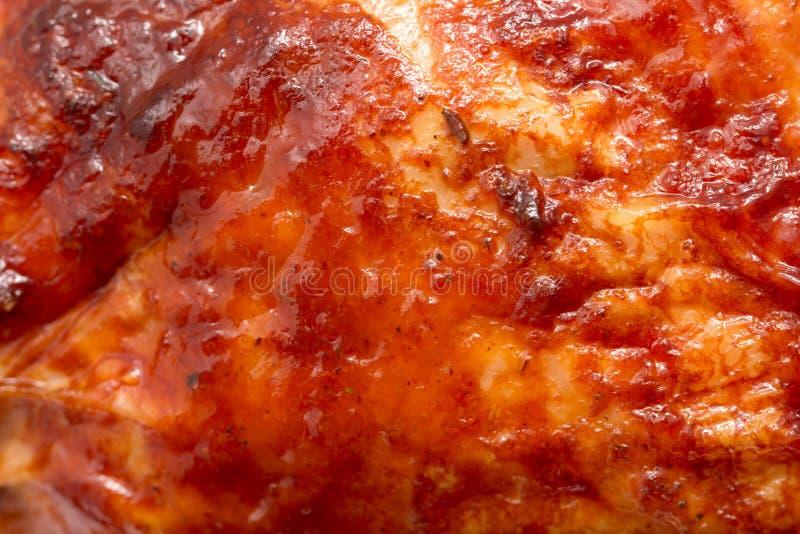 宏观射击的烤鸡食物背景关闭 免版税库存图片