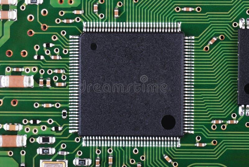 宏观微芯片pcb 免版税库存照片