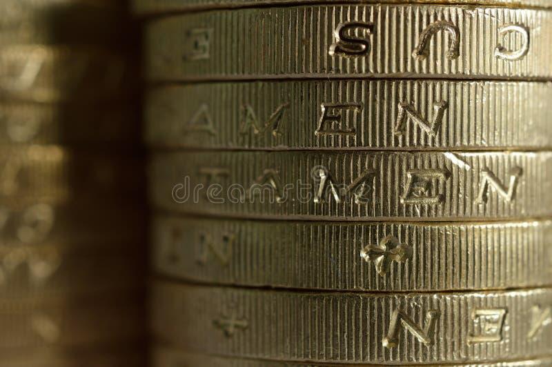 宏观的1英镑硬币 免版税库存照片