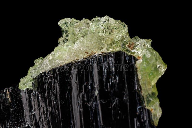 宏观石头矿物的Hyalite,电气石Sherl,在黑背景的墨晶 图库摄影