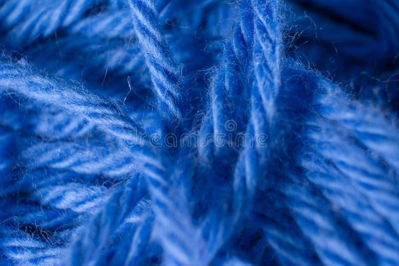 宏观蓝色毛线羊毛纹理背景 库存照片